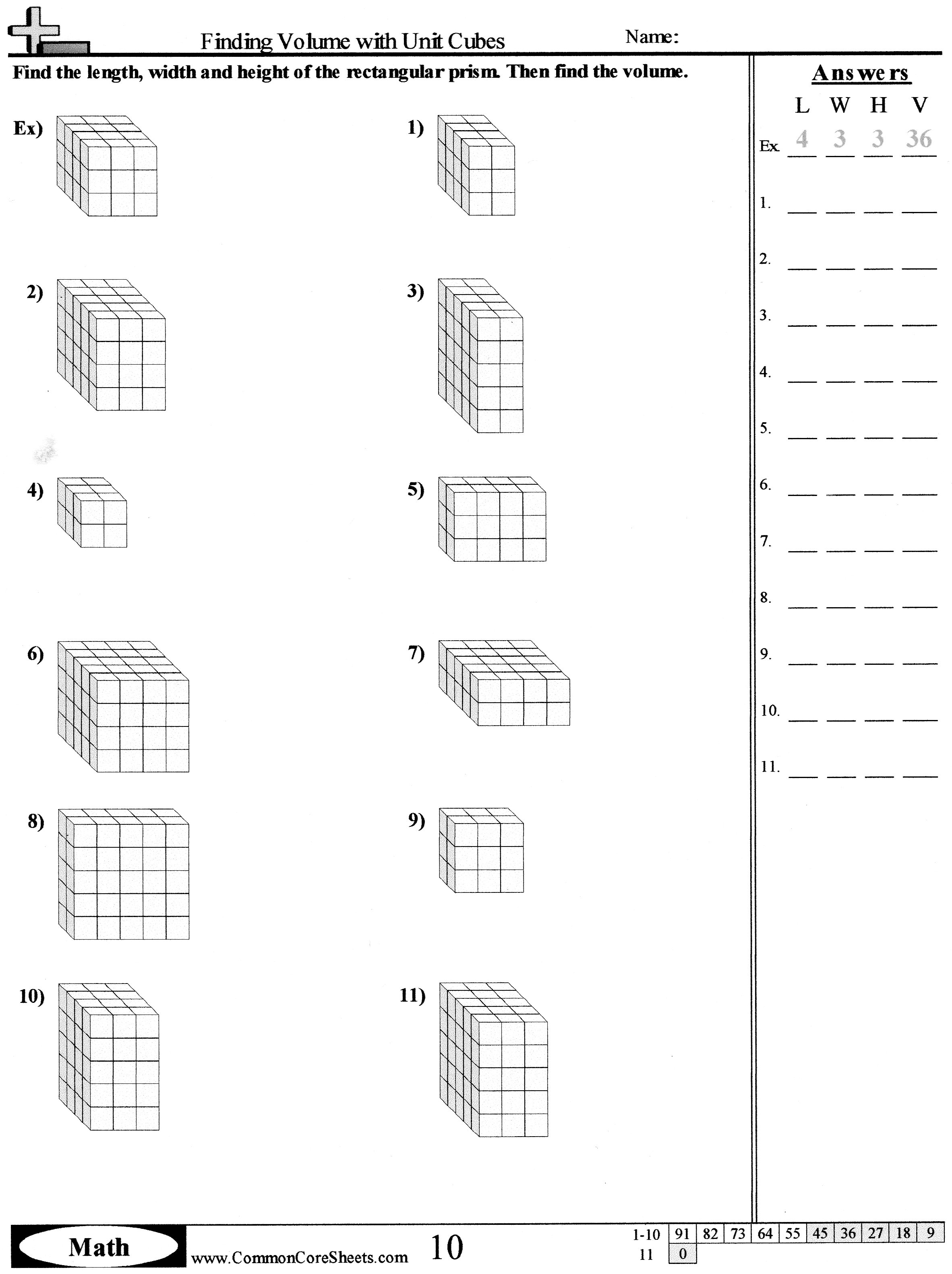 Volume Math Worksheets 5th Grade