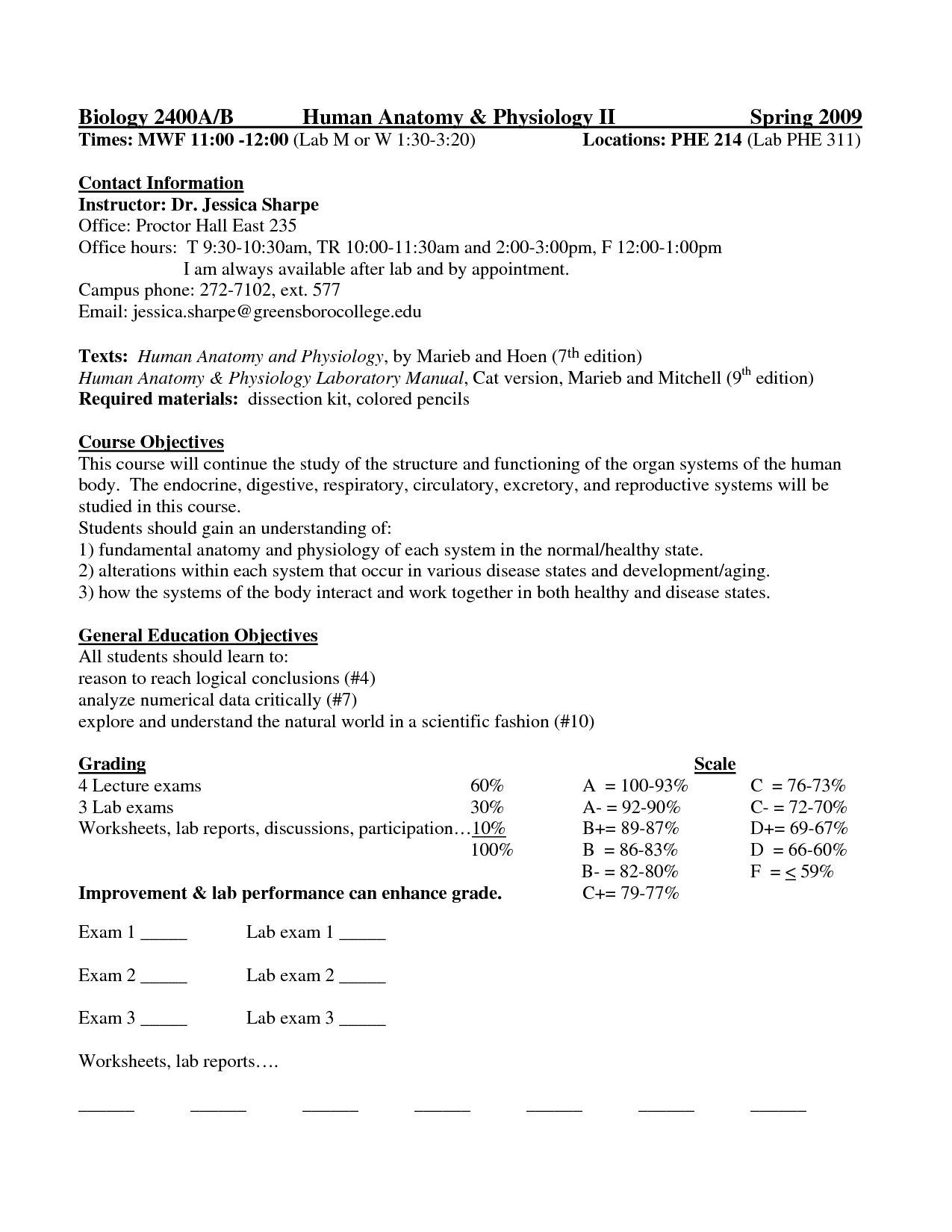 College Anatomy Worksheet