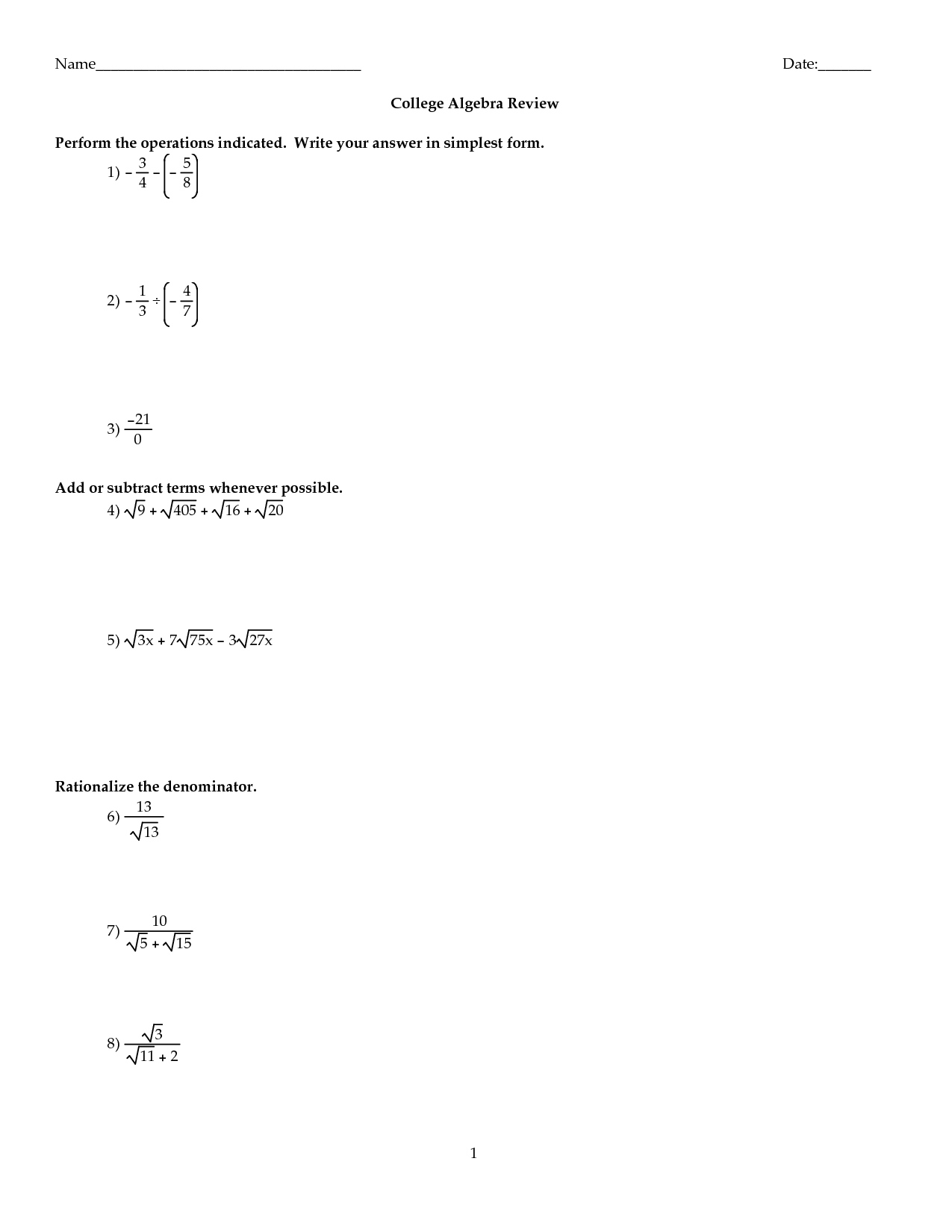 19 Best Images Of College Math Review Worksheets