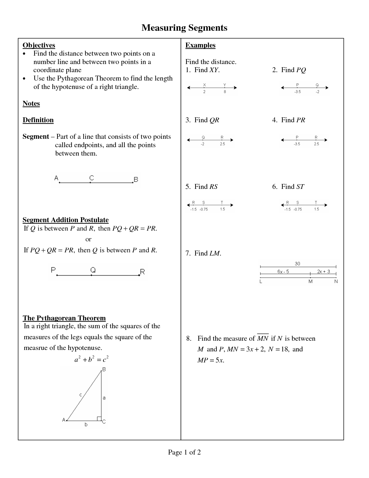 Line Segment Addition Postulate Worksheets