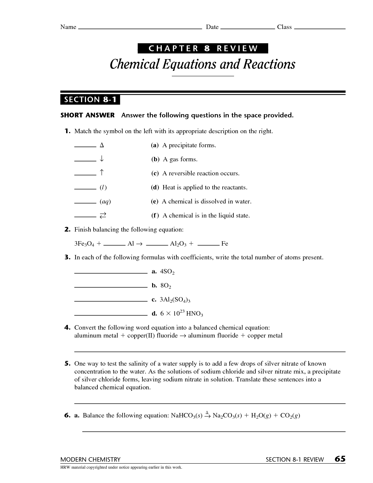 Chemistry Chapter 3 Equations Practice Sheet 1 Answers