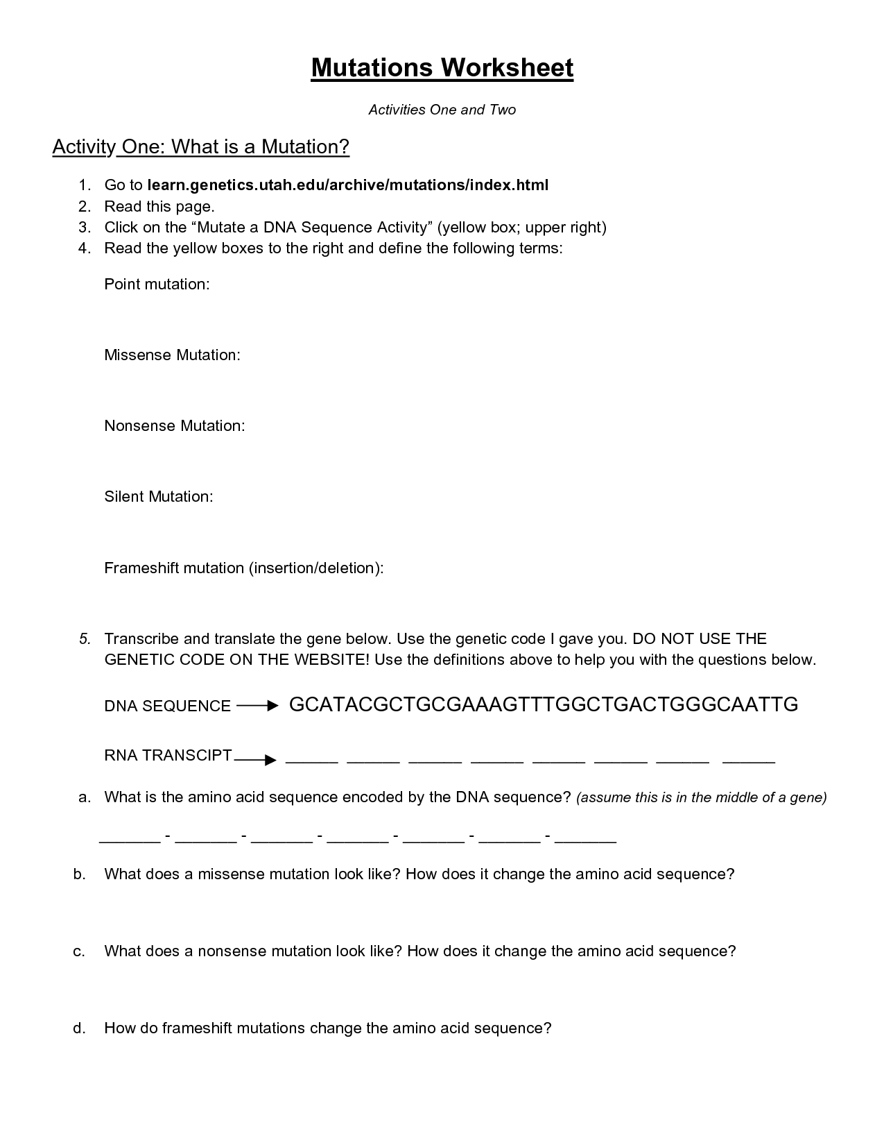 10 Best Images Of Cobb Dna Mutations Practice Worksheet