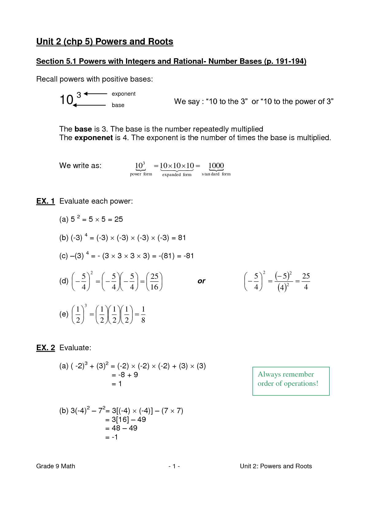 6 Best Images Of Pre Algebra Square Root Worksheets