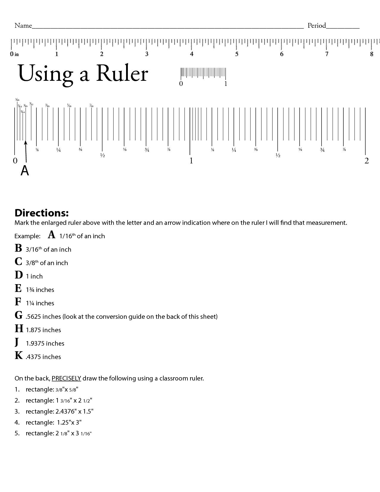 Worksheet Ruler Measurement Anwser