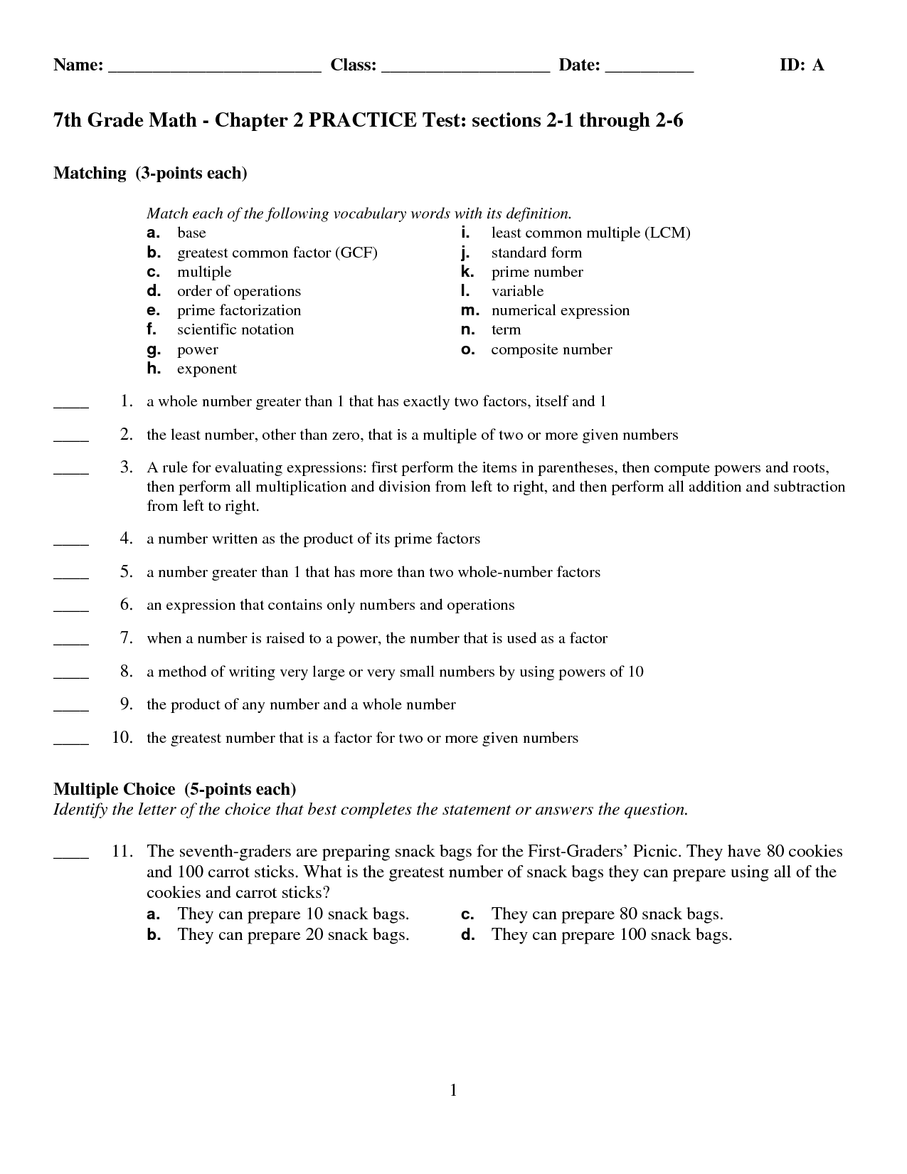Sample Math Test For 6th Grade