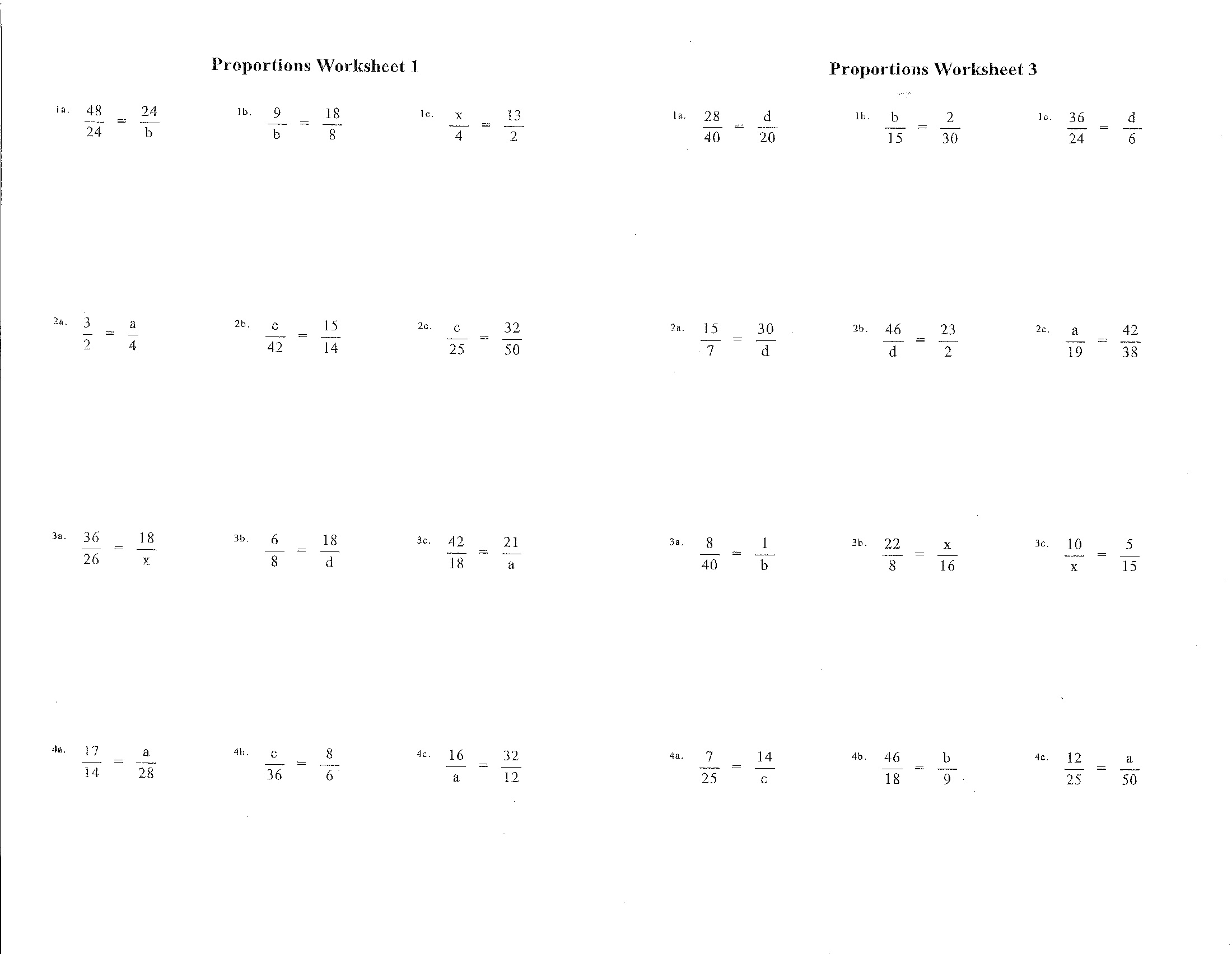 Proportions Worksheet 6th Grade
