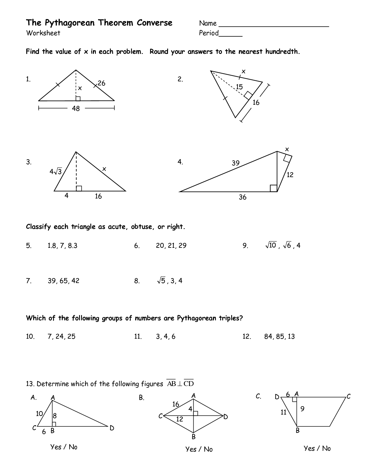 Pythagorean Theorem Worksheet Doc