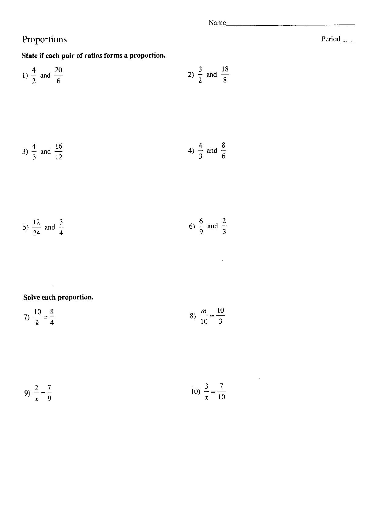 7th Grade Math Worksheet Ratios