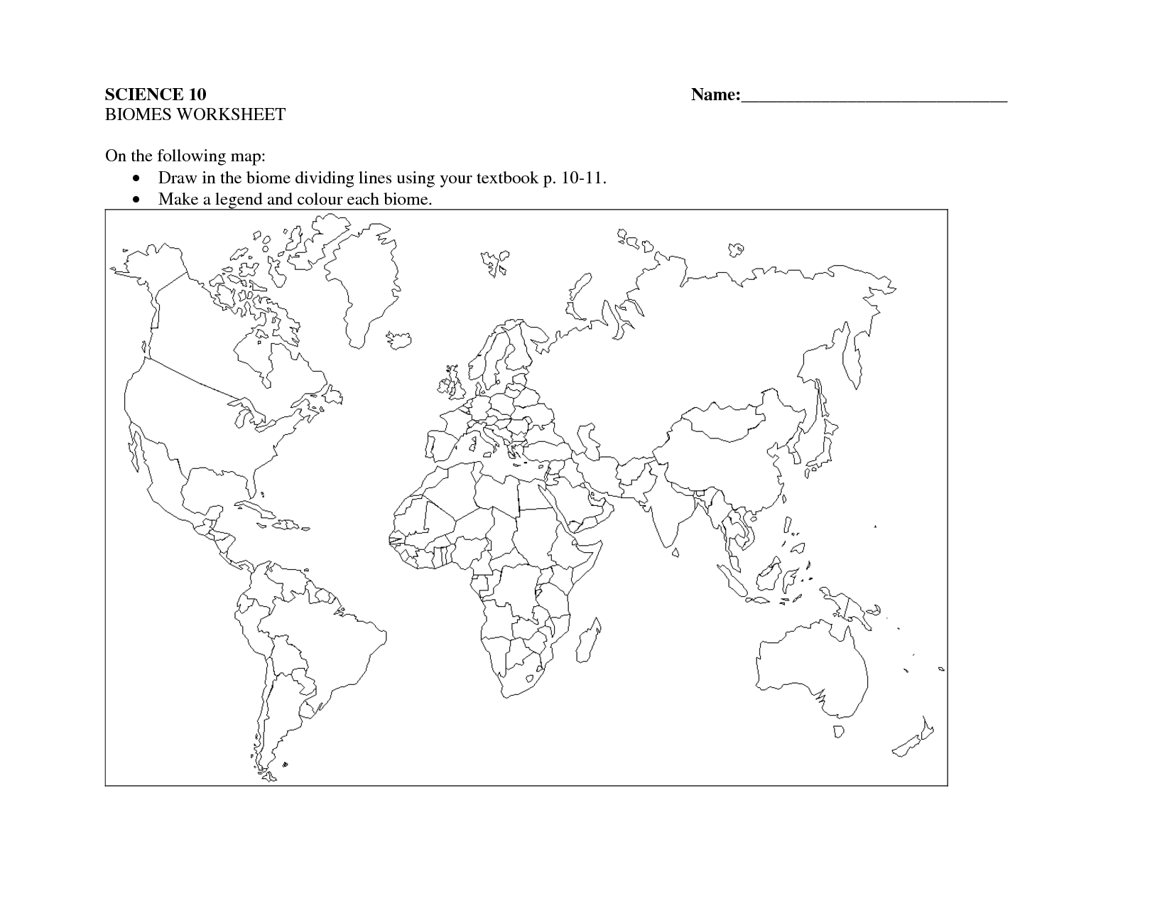 North American Biomes Worksheet