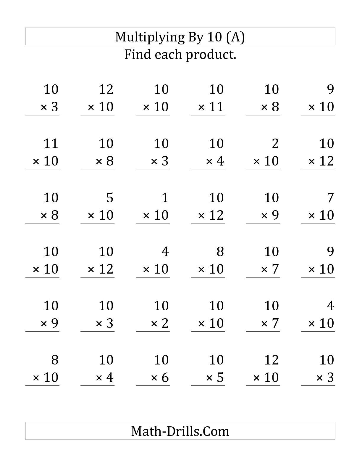 15 Best Images Of Multiplication By 10 Worksheet