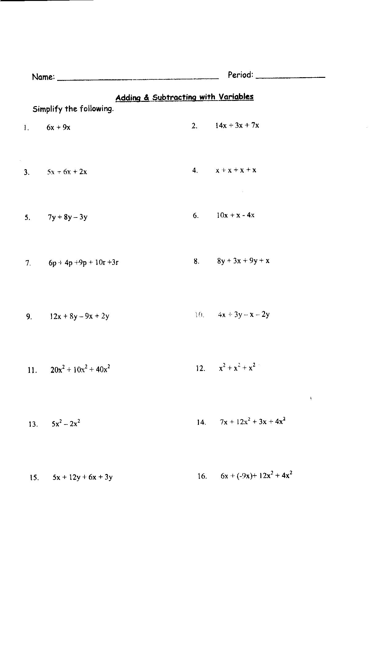 13 Best Images Of Combining Like Terms Worksheet Answer