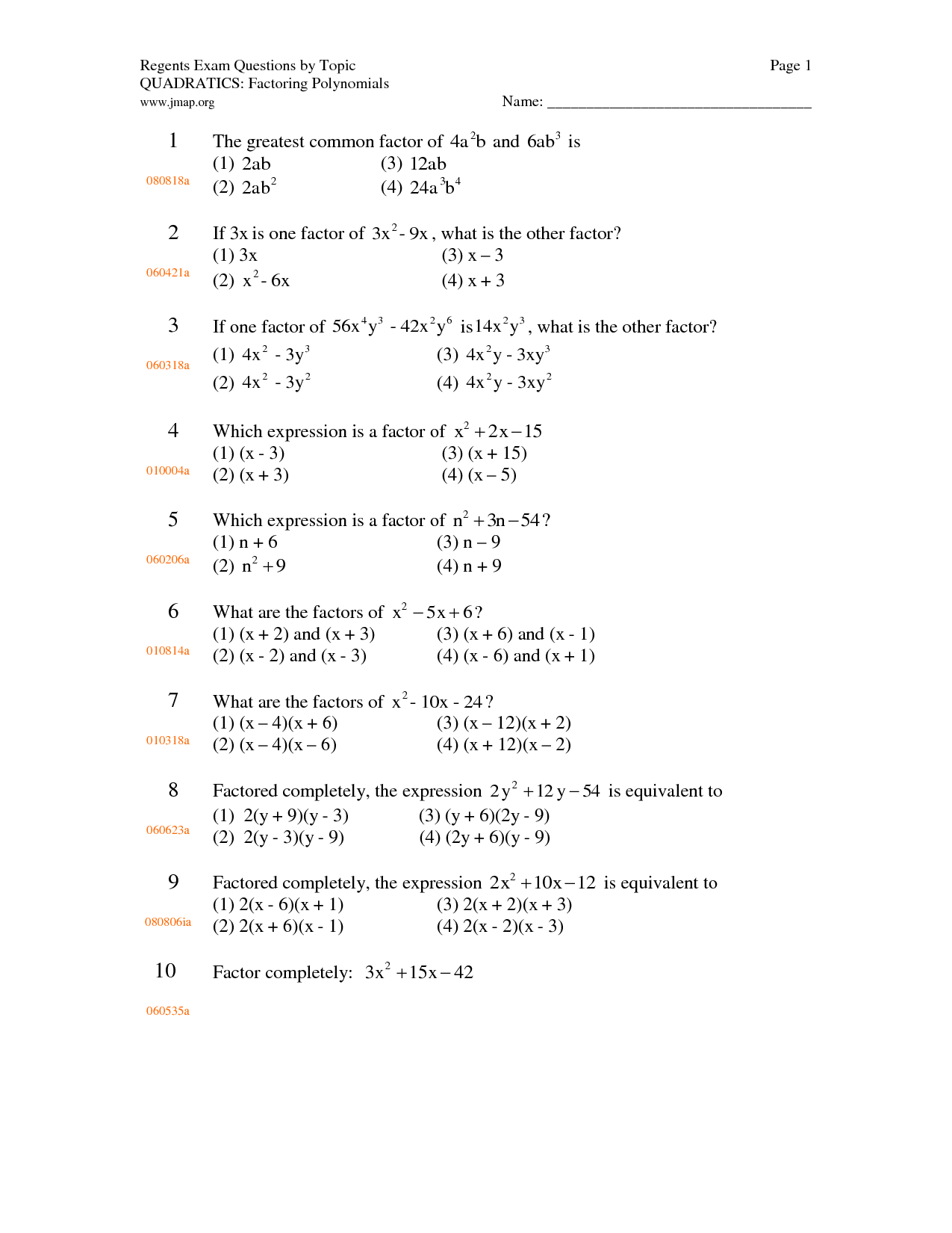 14 Best Images Of Factoring Polynomials Gcf Worksheet
