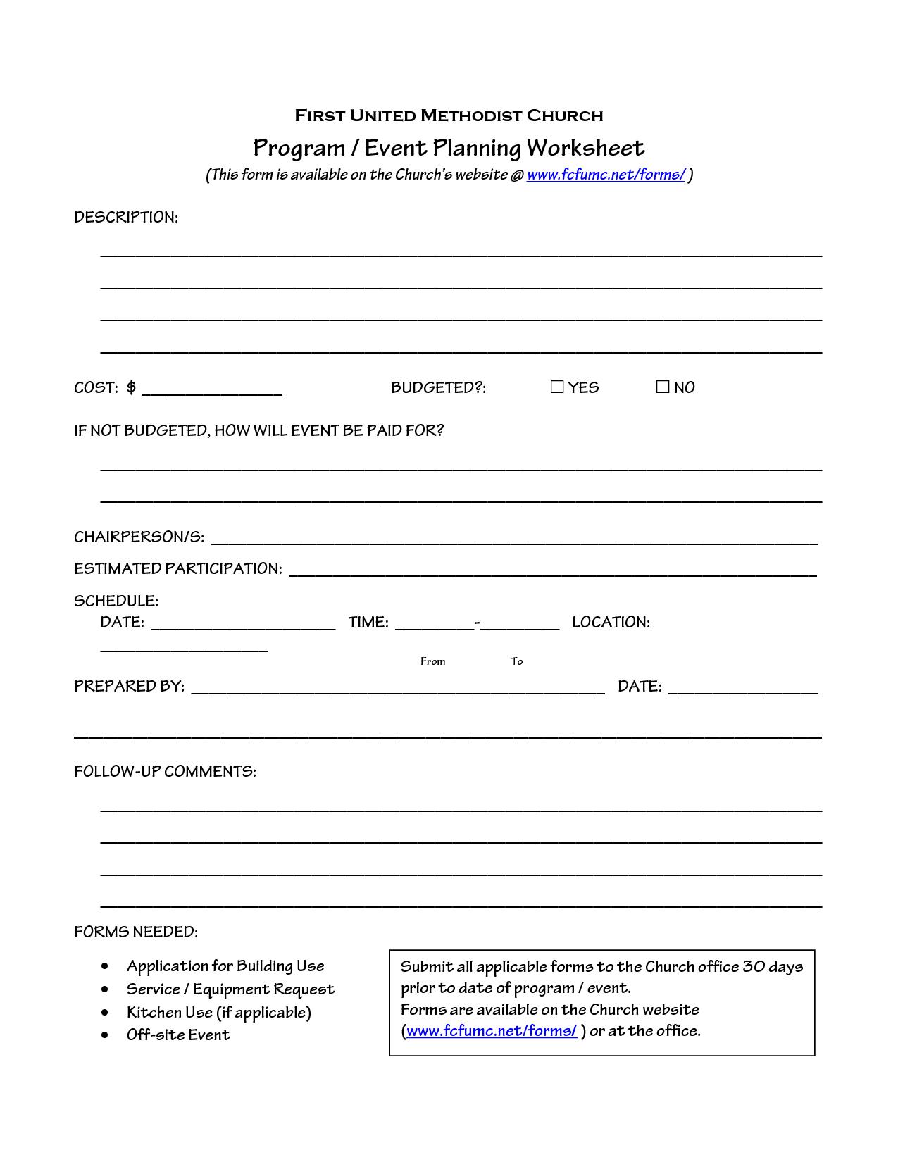Church Planning Worksheet
