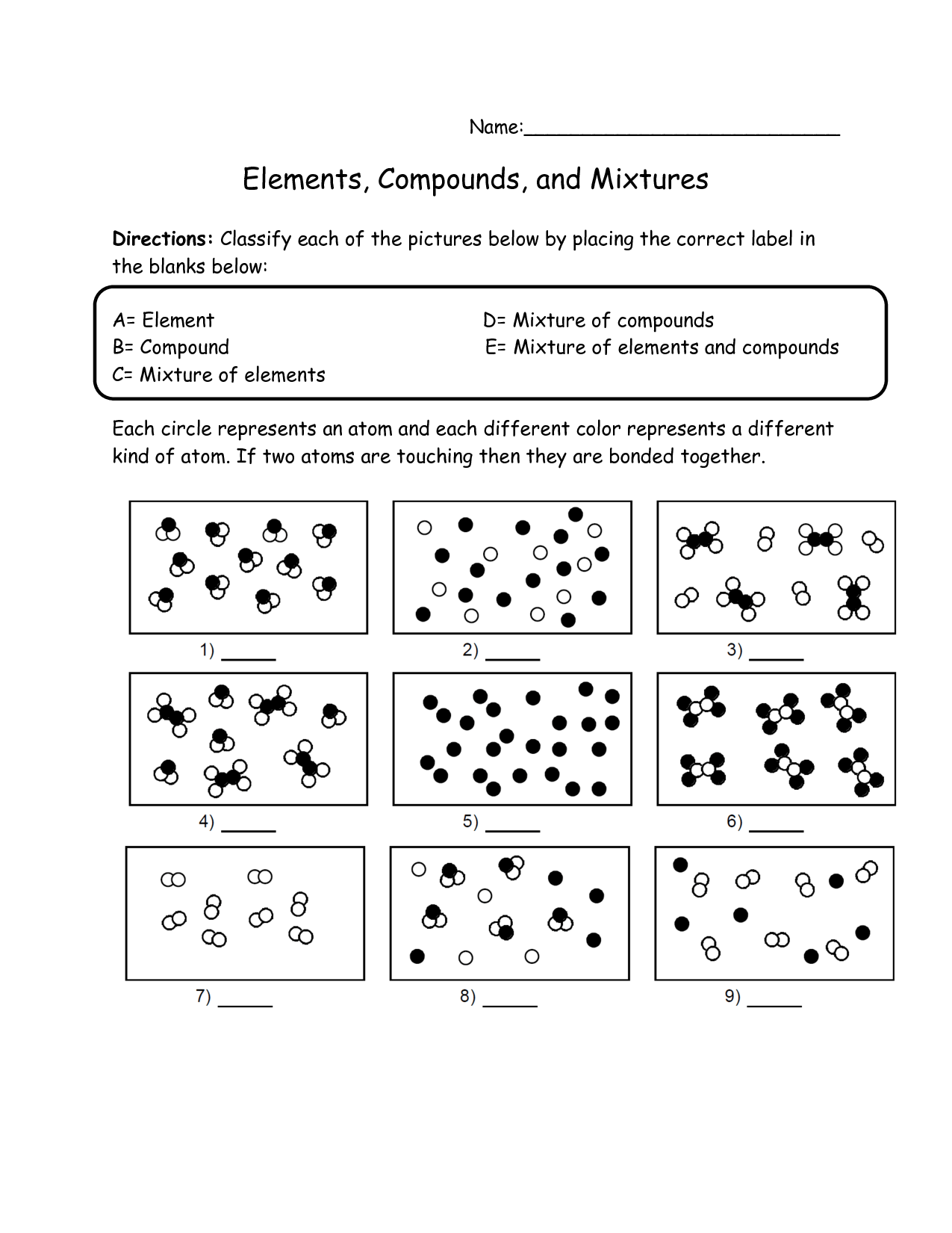 17 Best Images Of Elements Compounds And Mixtures Worksheet Answer Key