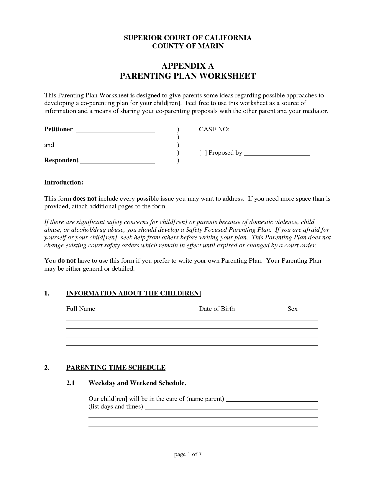 Co Parenting Difficult Worksheet