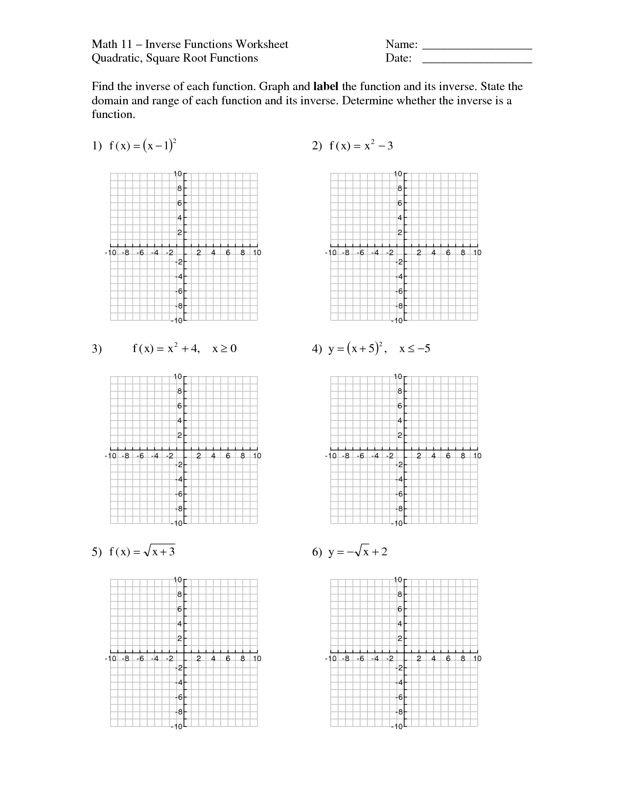 35 Inverse Of Linear Functions Worksheet Answers