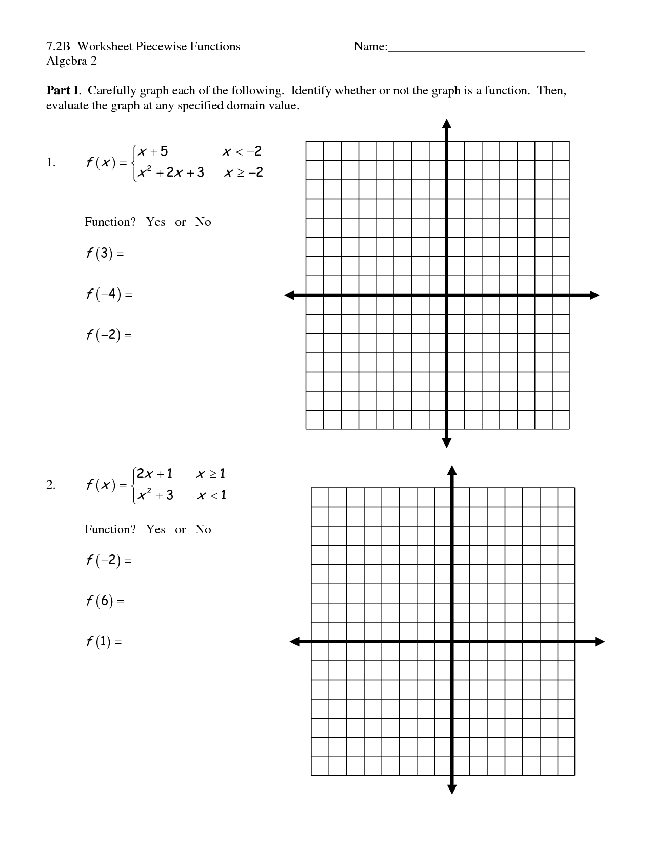 Simple Piecewise Functions Worksheet