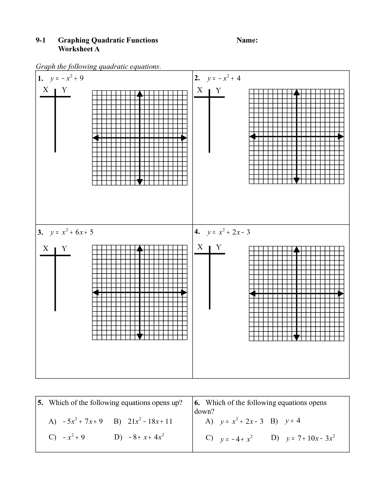 Word Problems Involving Quadratic Functions Worksheet