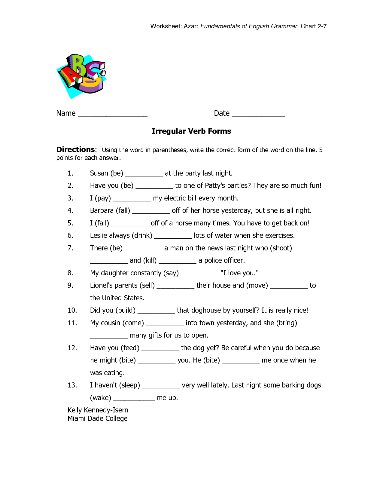 32 Irregular Verbs Worksheet 3rd Grade
