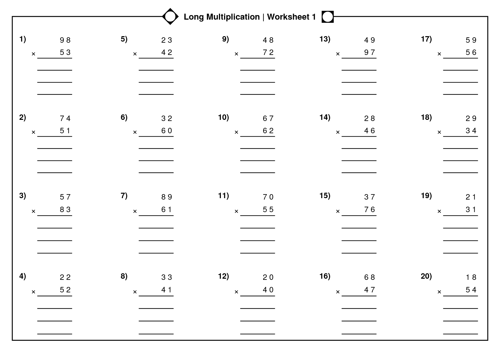 Long Division Worksheet Year 5