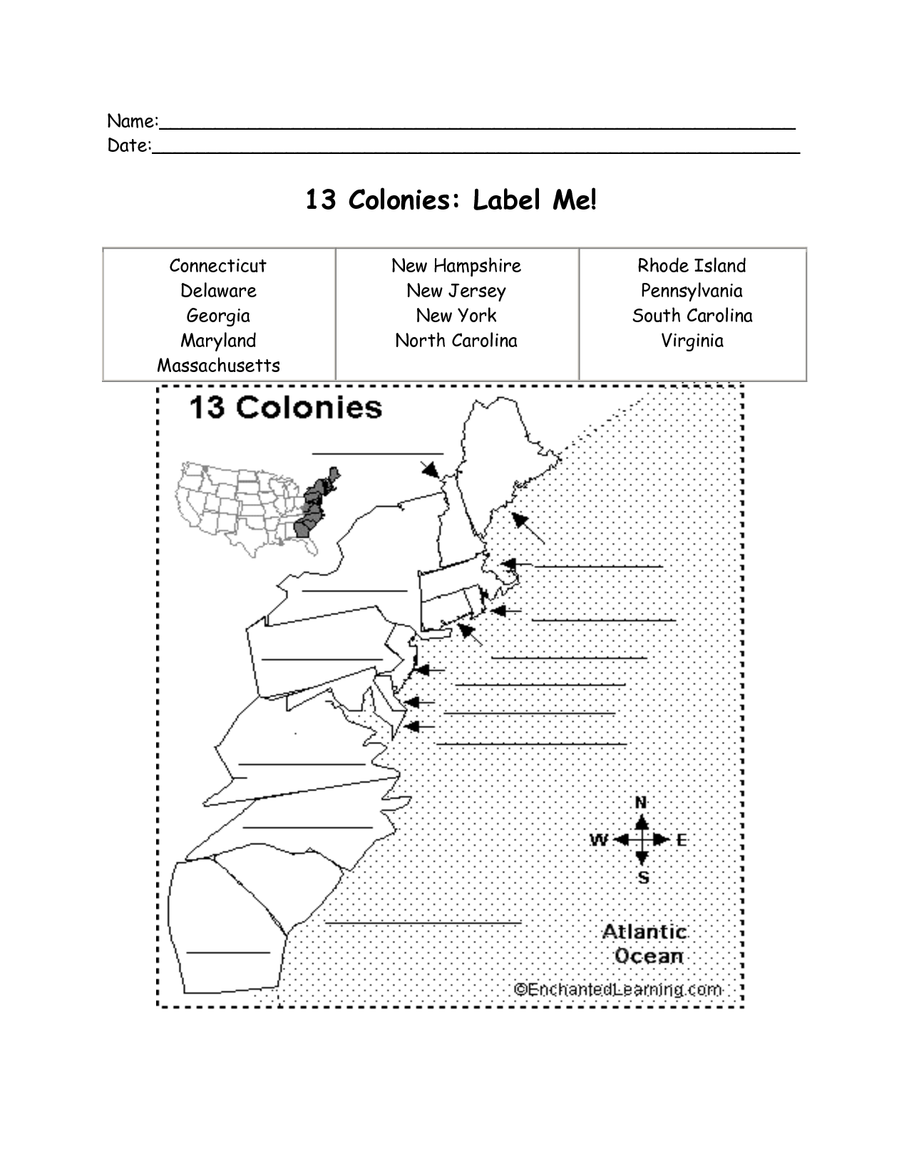11 Best Images Of 13 English Colonies Worksheets