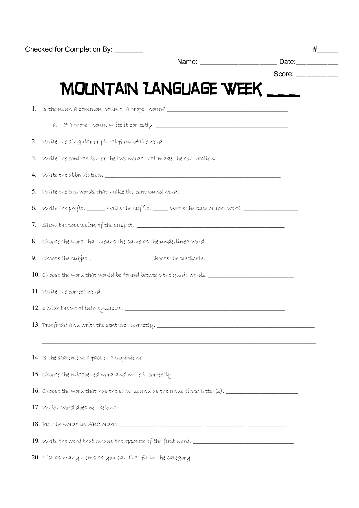 16 Best Images Of 5th Grade Mountain Language Worksheet