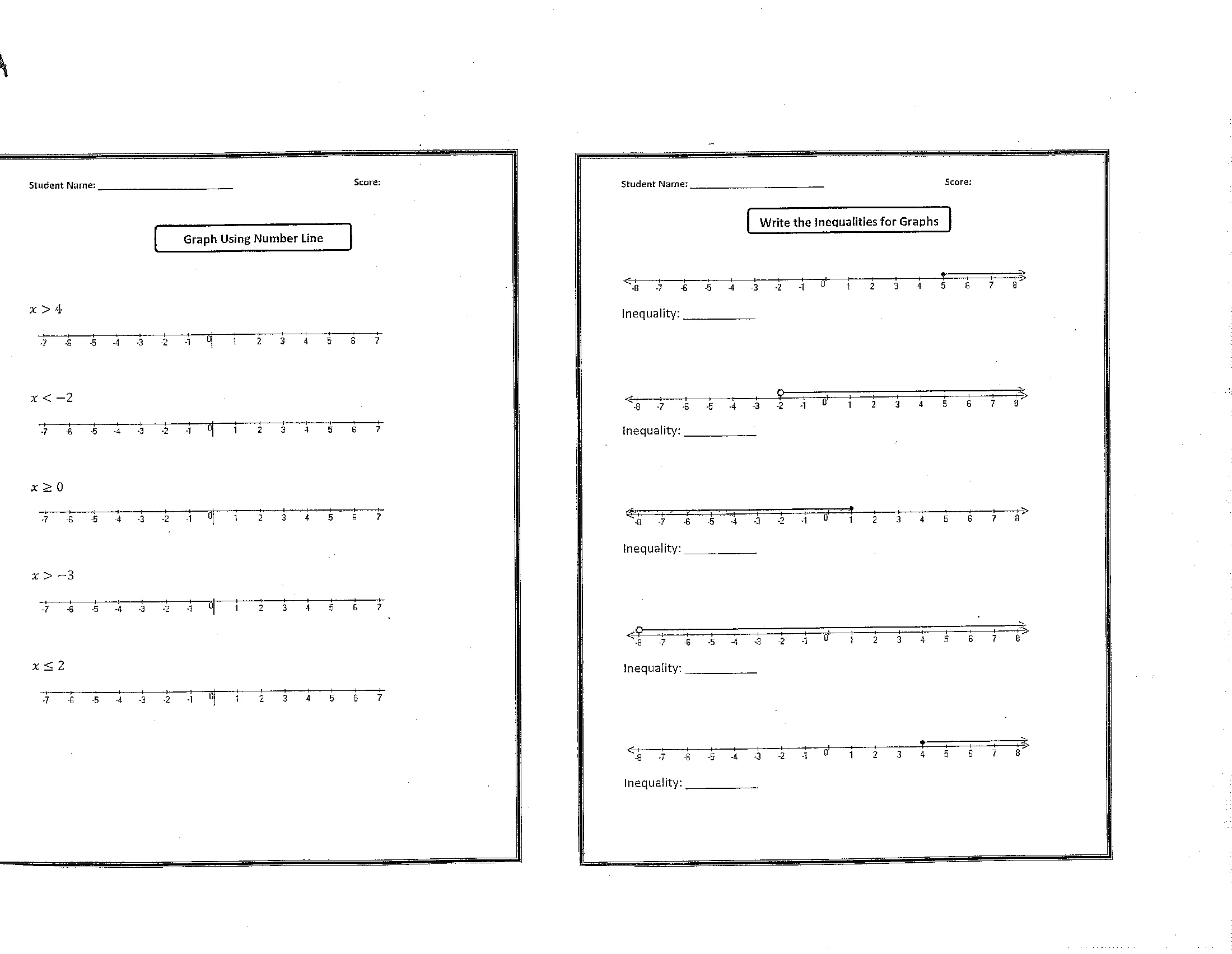 Christmas Inequalities Worksheet