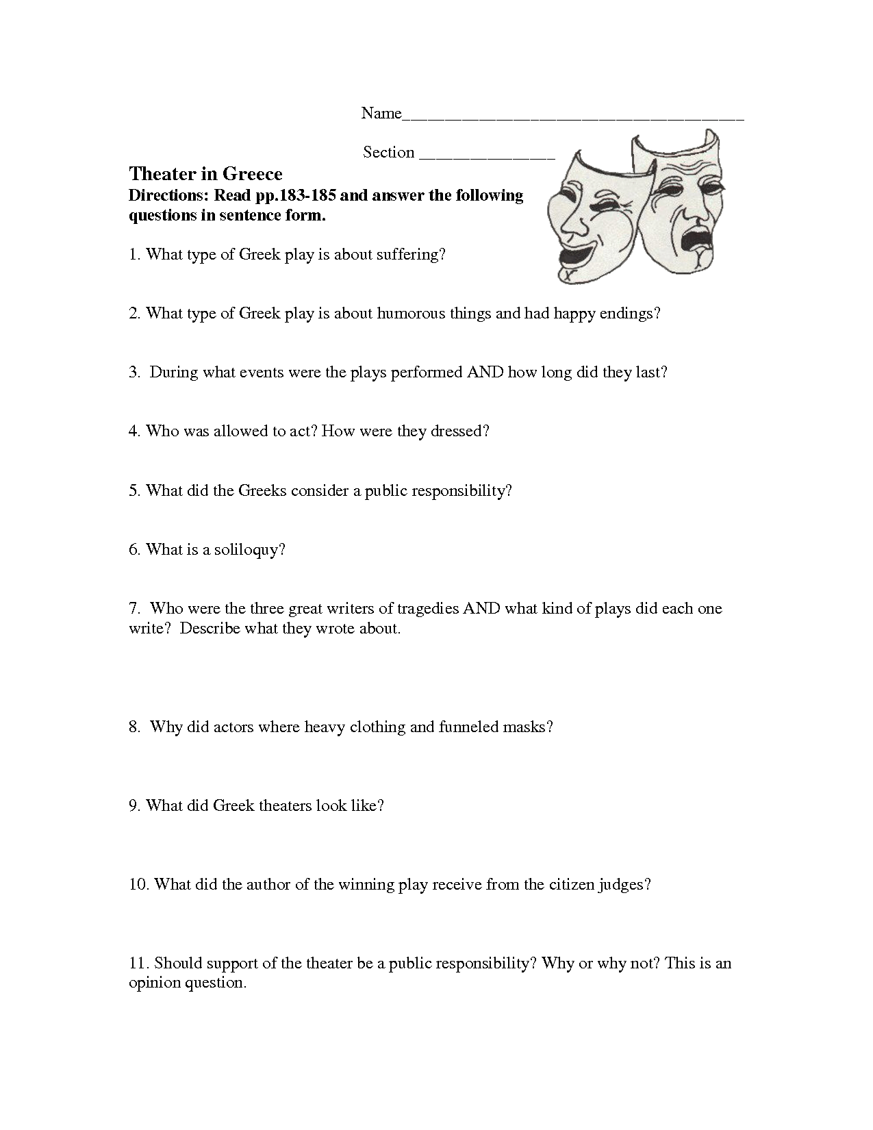 19 Best Images Of Theater Vocabulary Worksheets