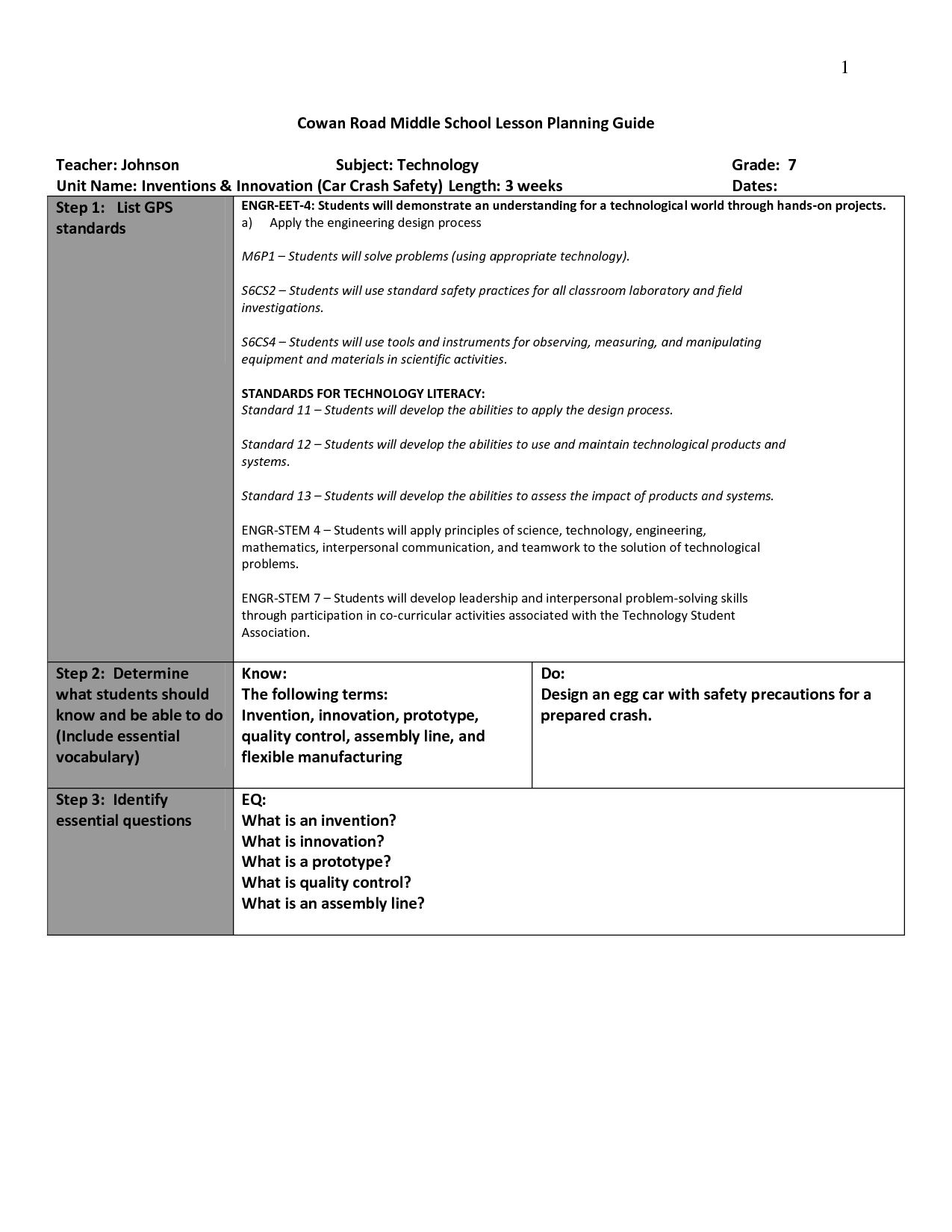 Design Process Worksheet Middle School