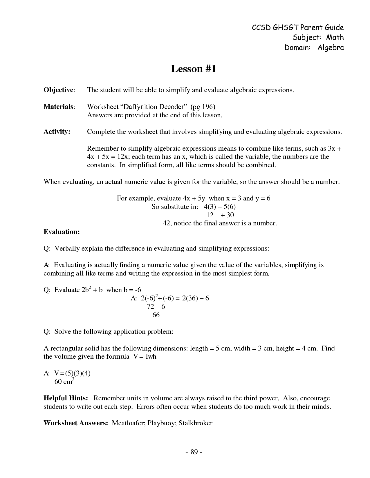 Evaluating Algebraic Expressions Worksheet Kuta