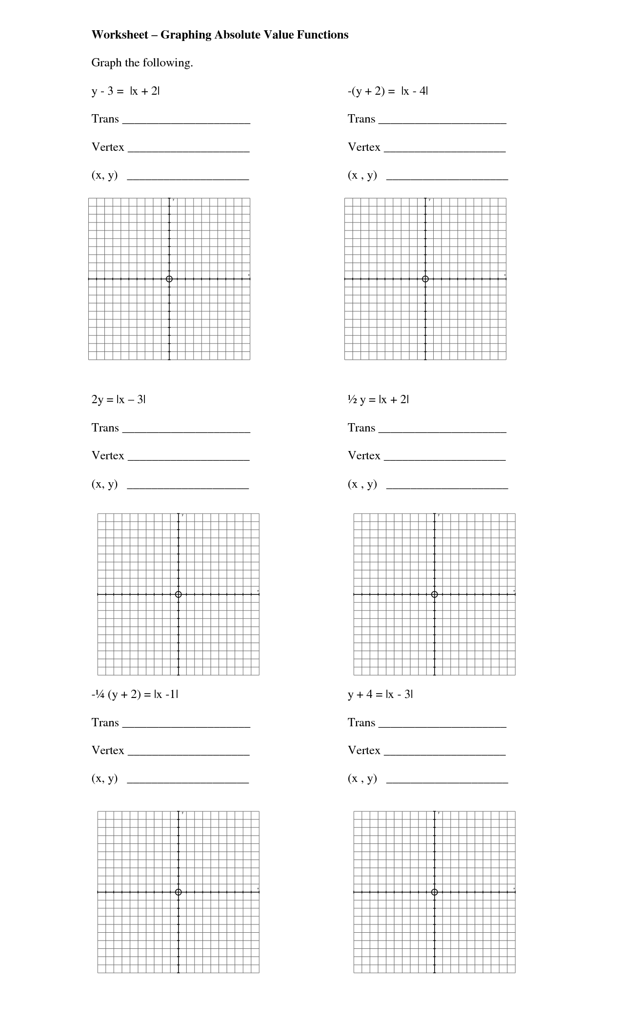 Worksheet Absolute Value
