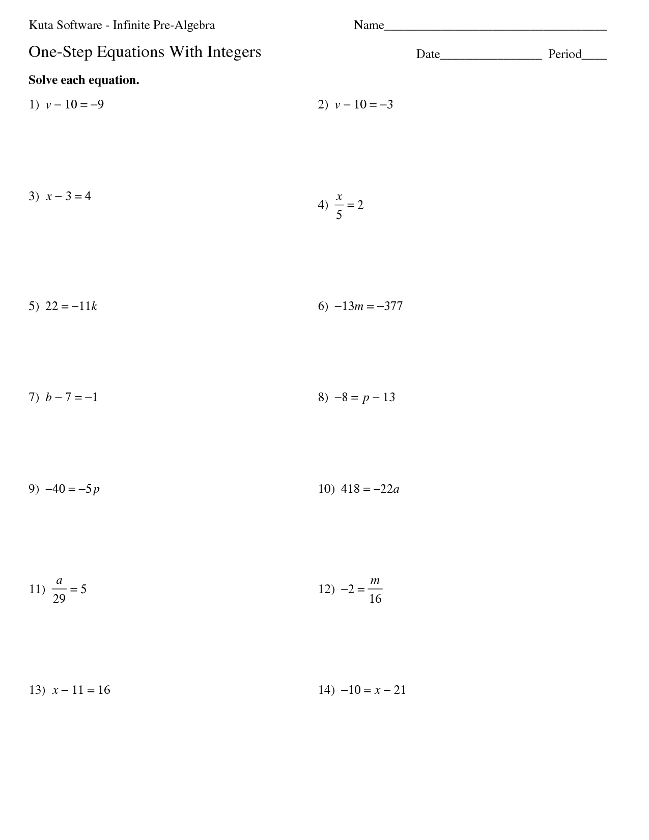 16 Best Images Of Free Printable Pre Algebra Worksheets