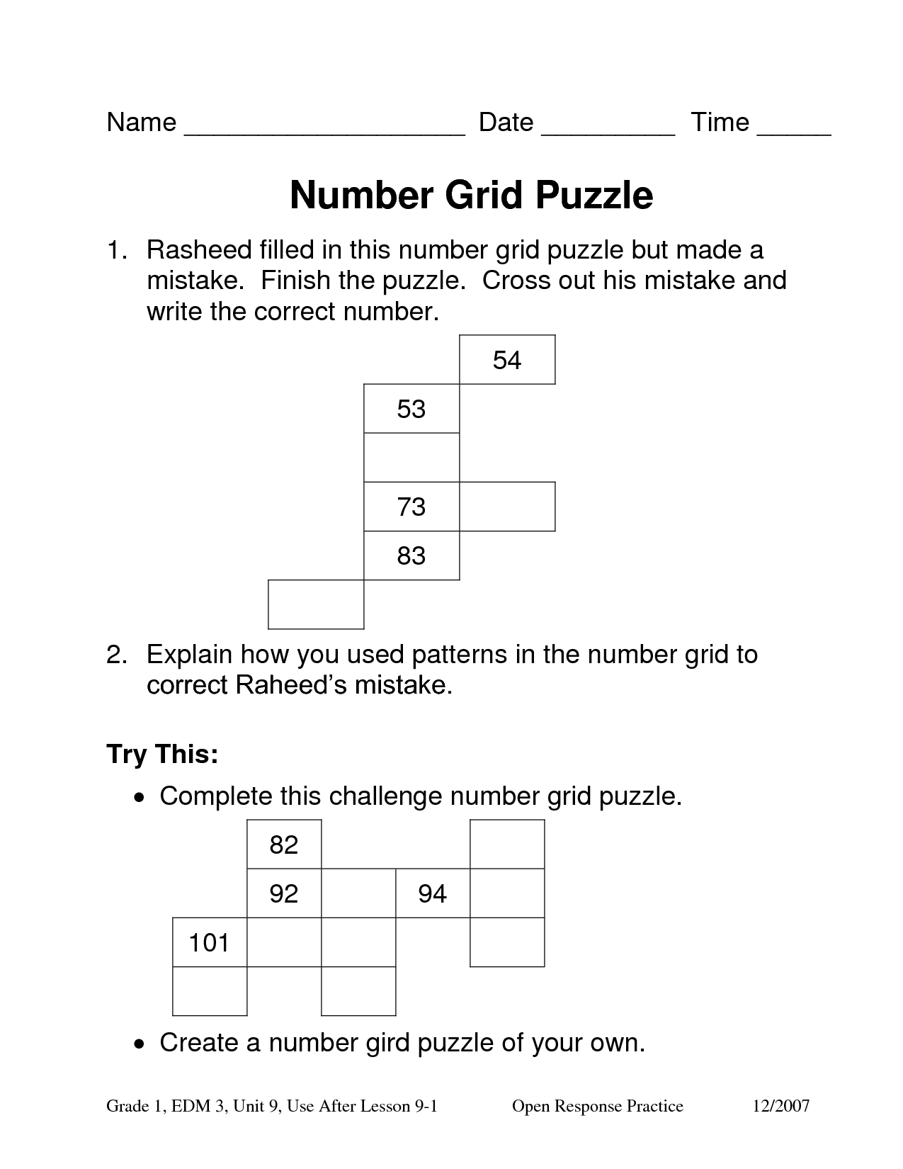 9 Best Images Of Number Grid Worksheets