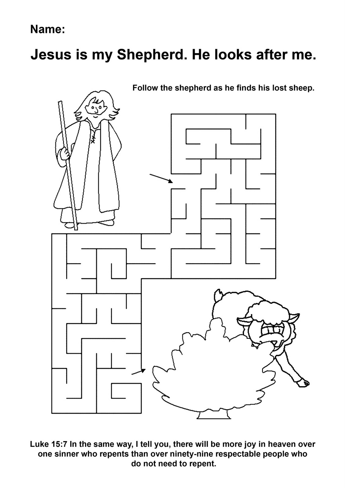 Lost Lamb Preschool Maze Worksheet