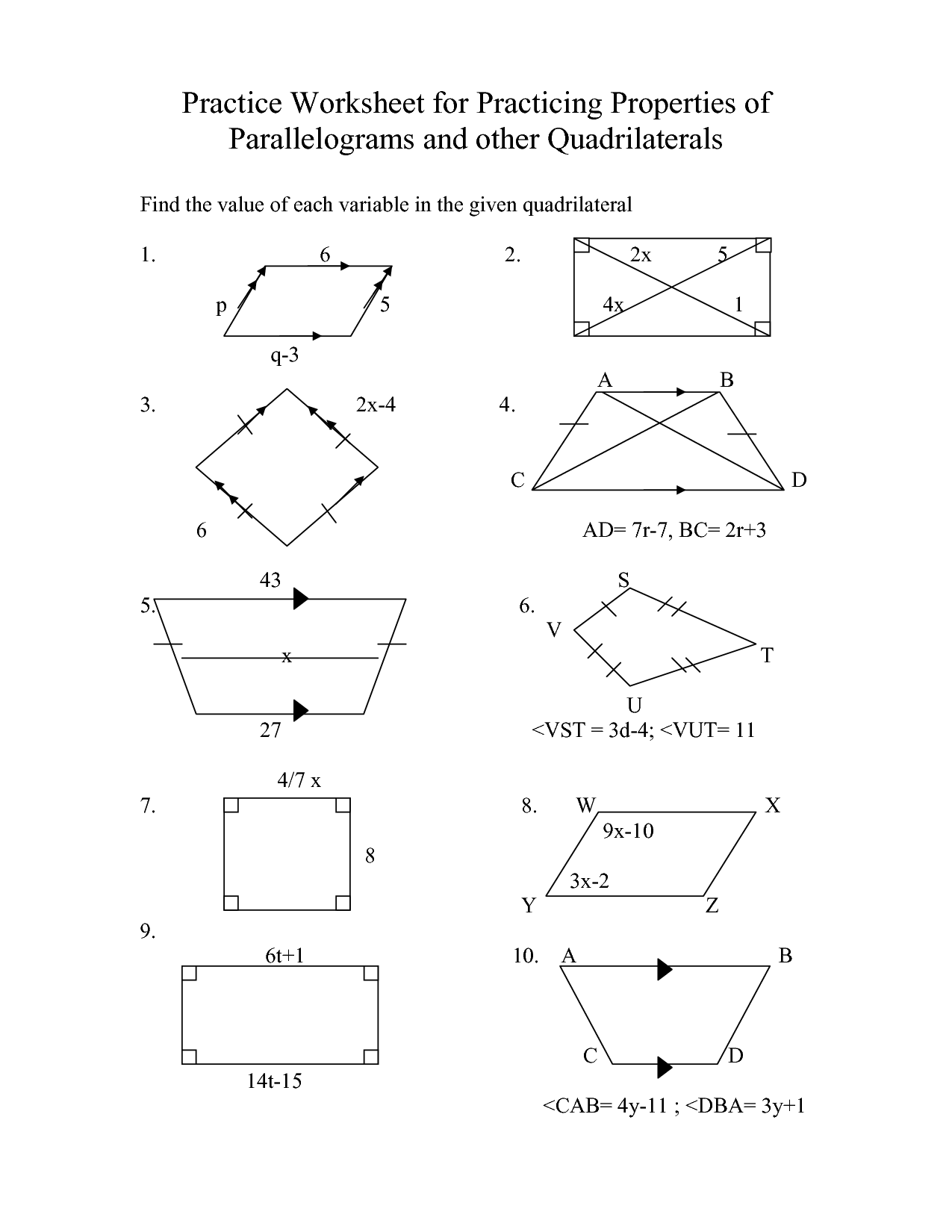 Triangle And Parallelogram Worksheet