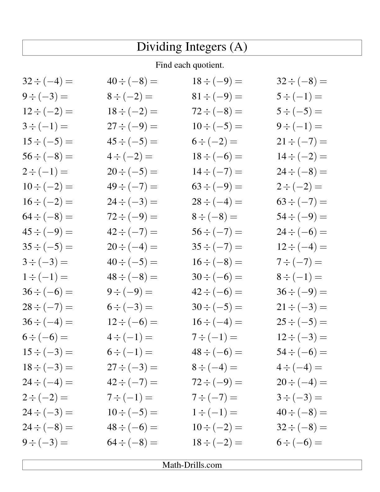 Integer Math Worksheet