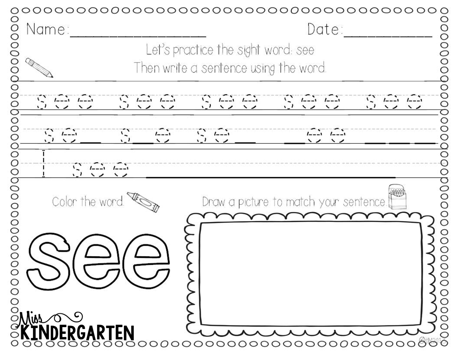 Writing Sight Word Can Worksheet