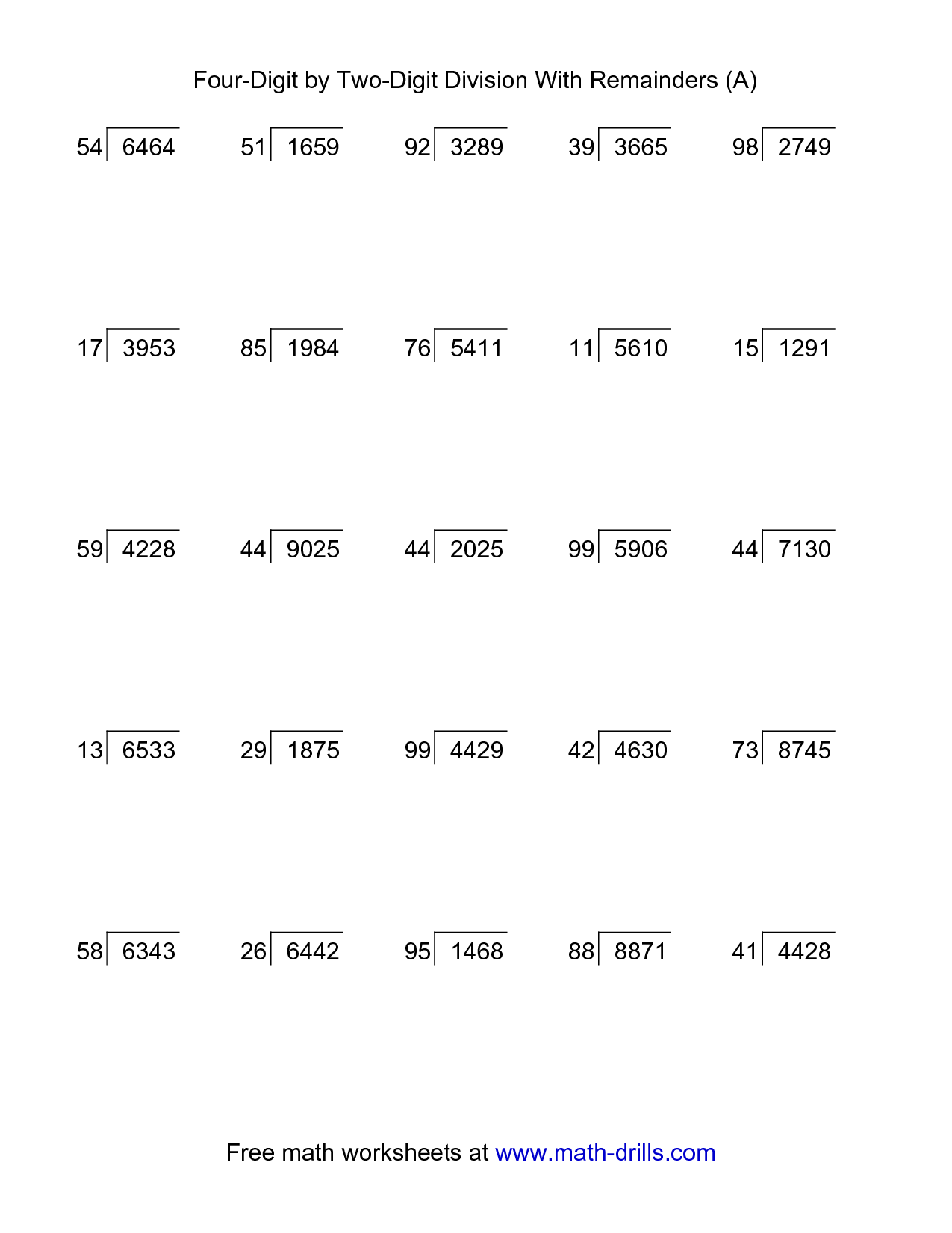 Printable Math Worksheet 2 Digit