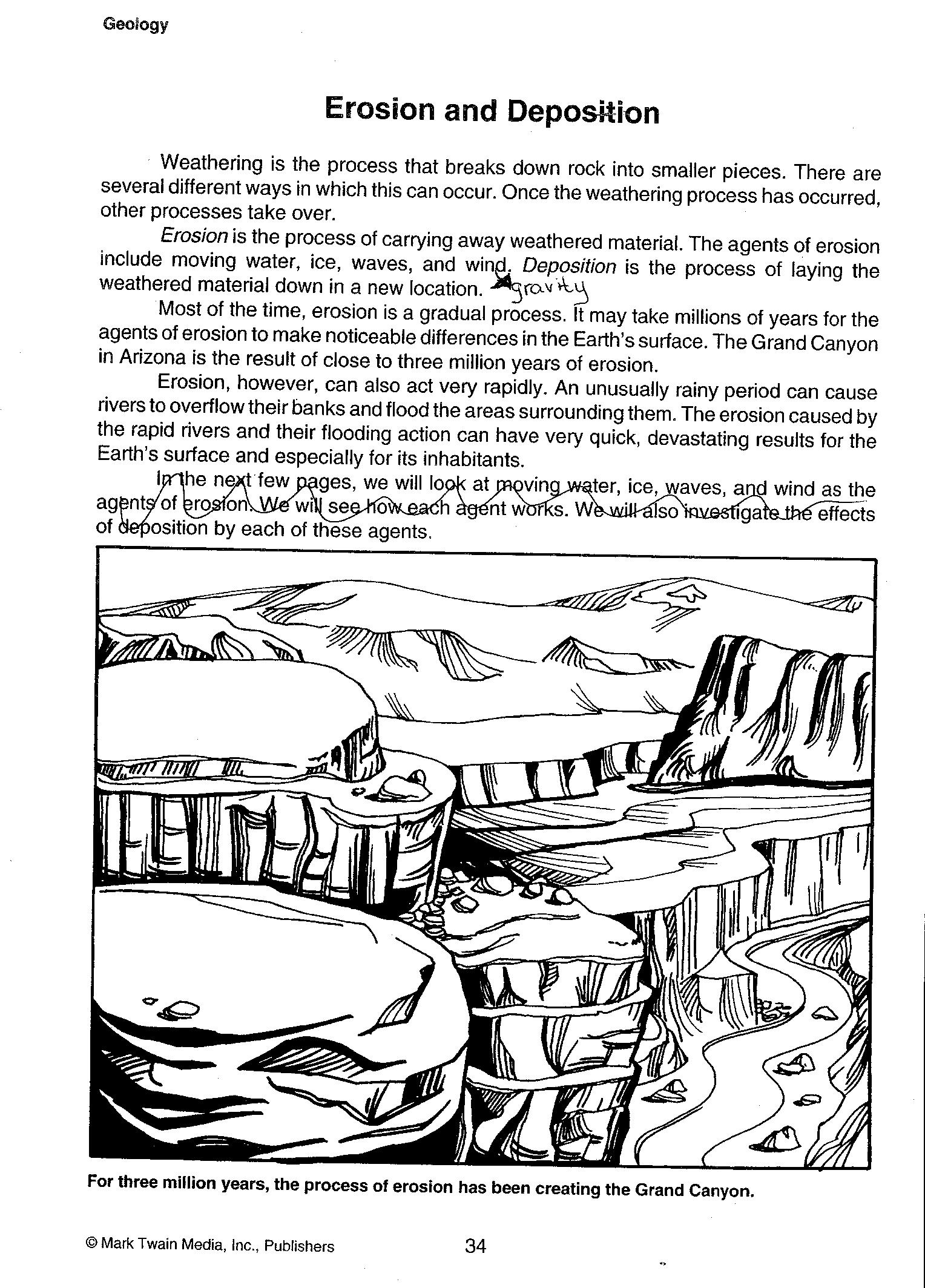 6 Best Images Of Weathering Erosion Worksheets Grade 4