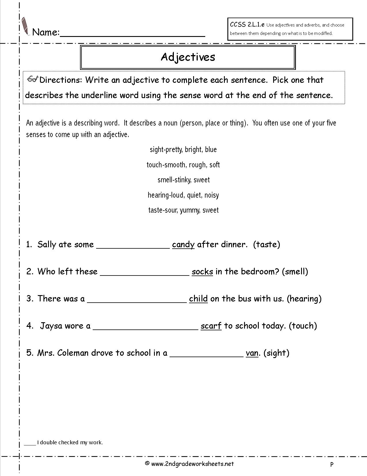 5th Grade Adjective Worksheet