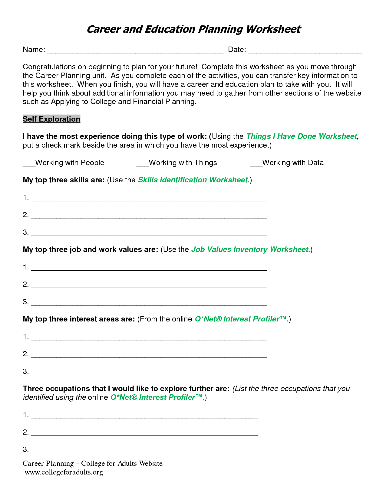 Stage Of Change Assessment Worksheet