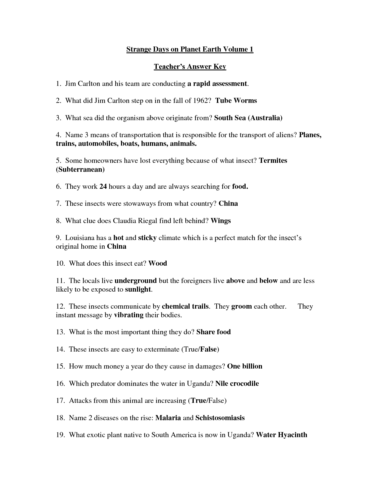 30 Earth The Water Planet Worksheet Answers