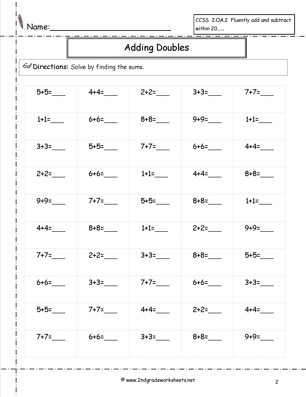 18 Best Images Of Doubles Minus 1 Worksheet