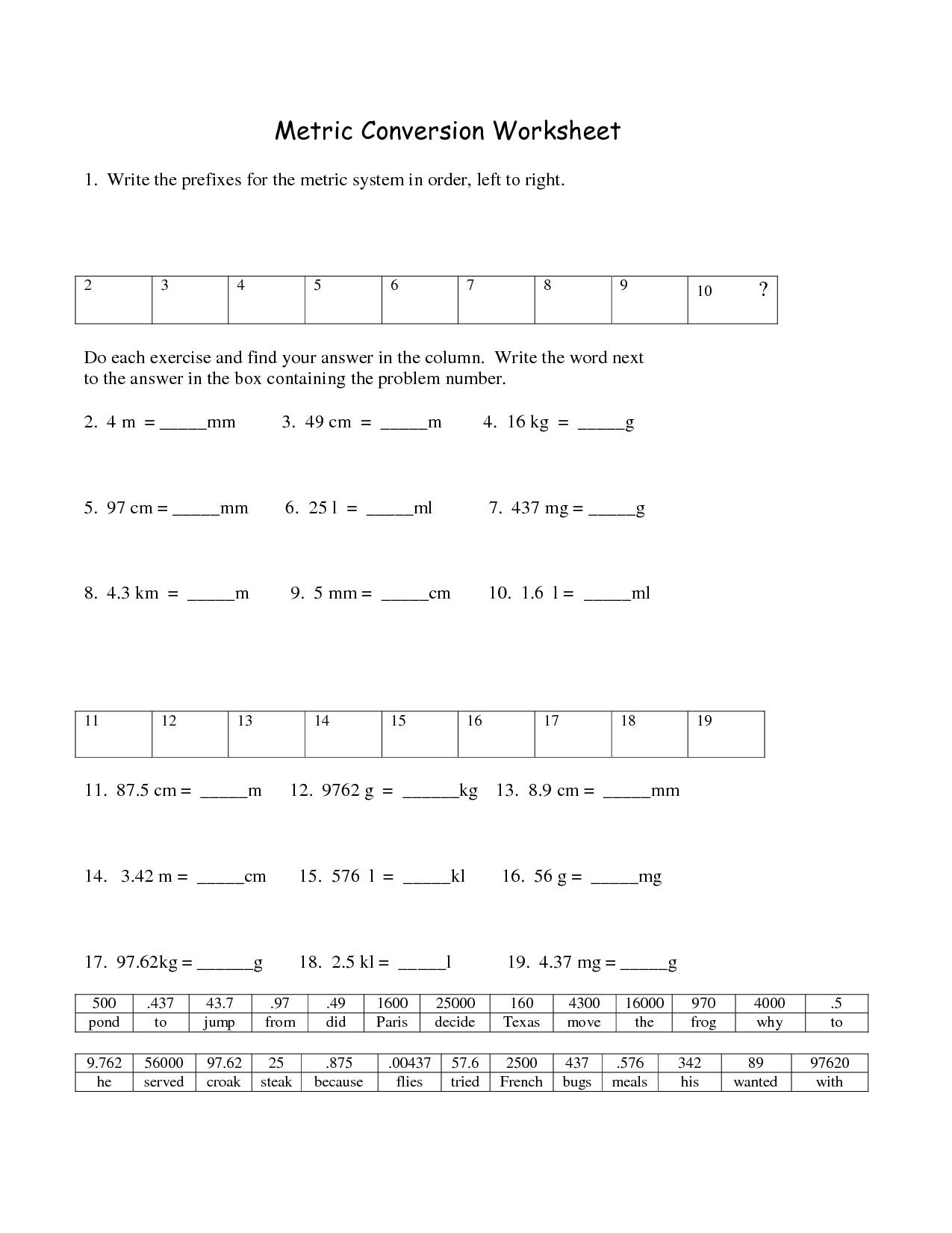Chemistry Metric Conversion Worksheet