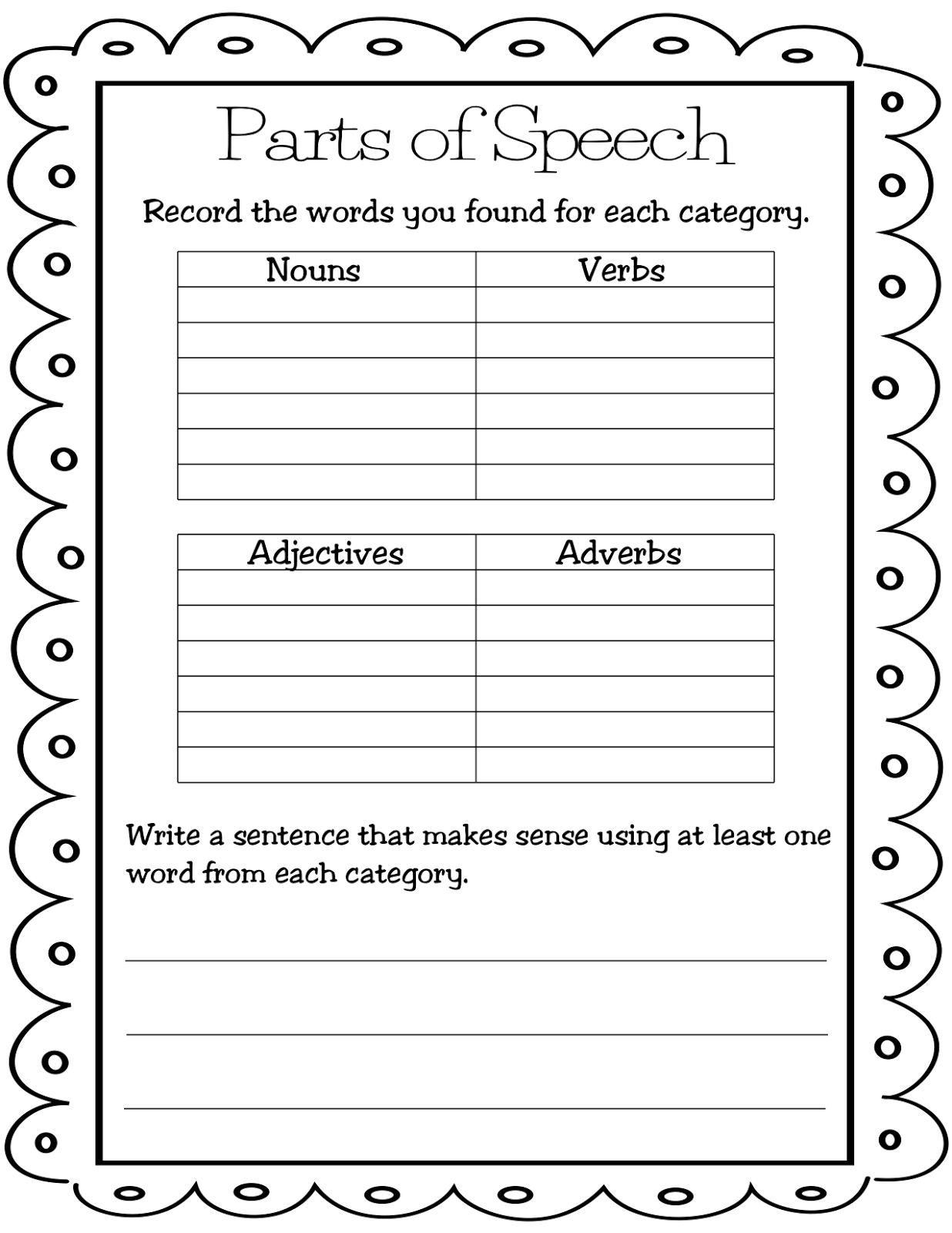 12 Best Images Of Identify Parts Of Speech Worksheet