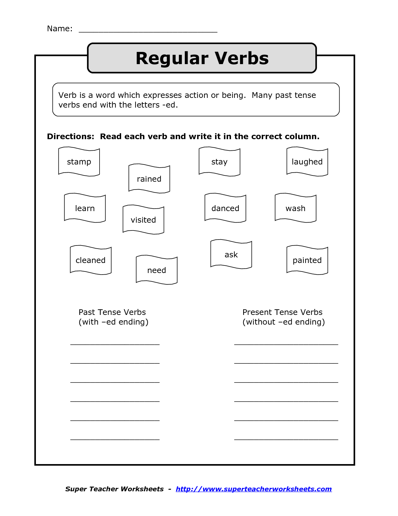 Worksheet With Past Tense Verbs