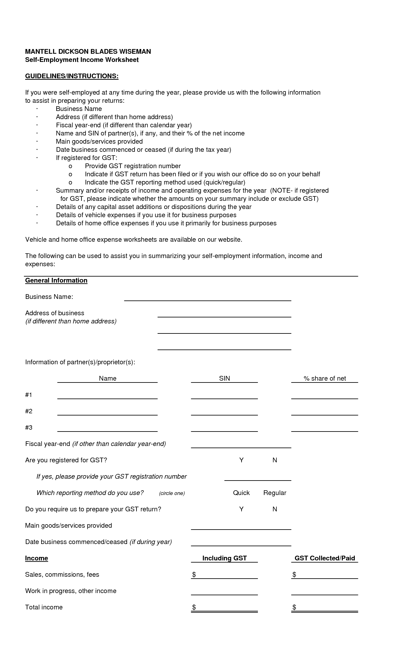 Worksheet To Calculate Self Employment Ine