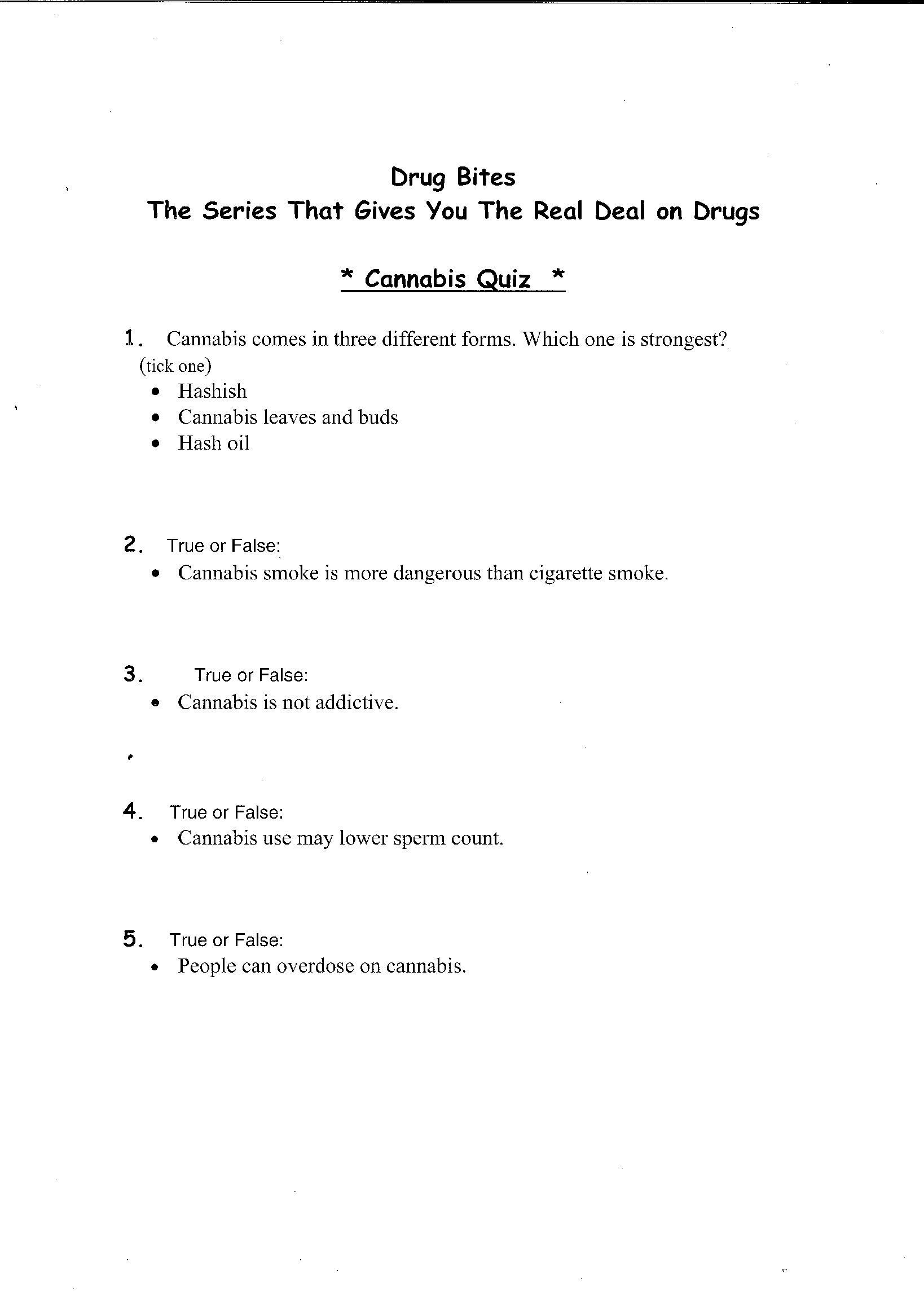 16 Best Images Of Free Printable Drug Worksheets