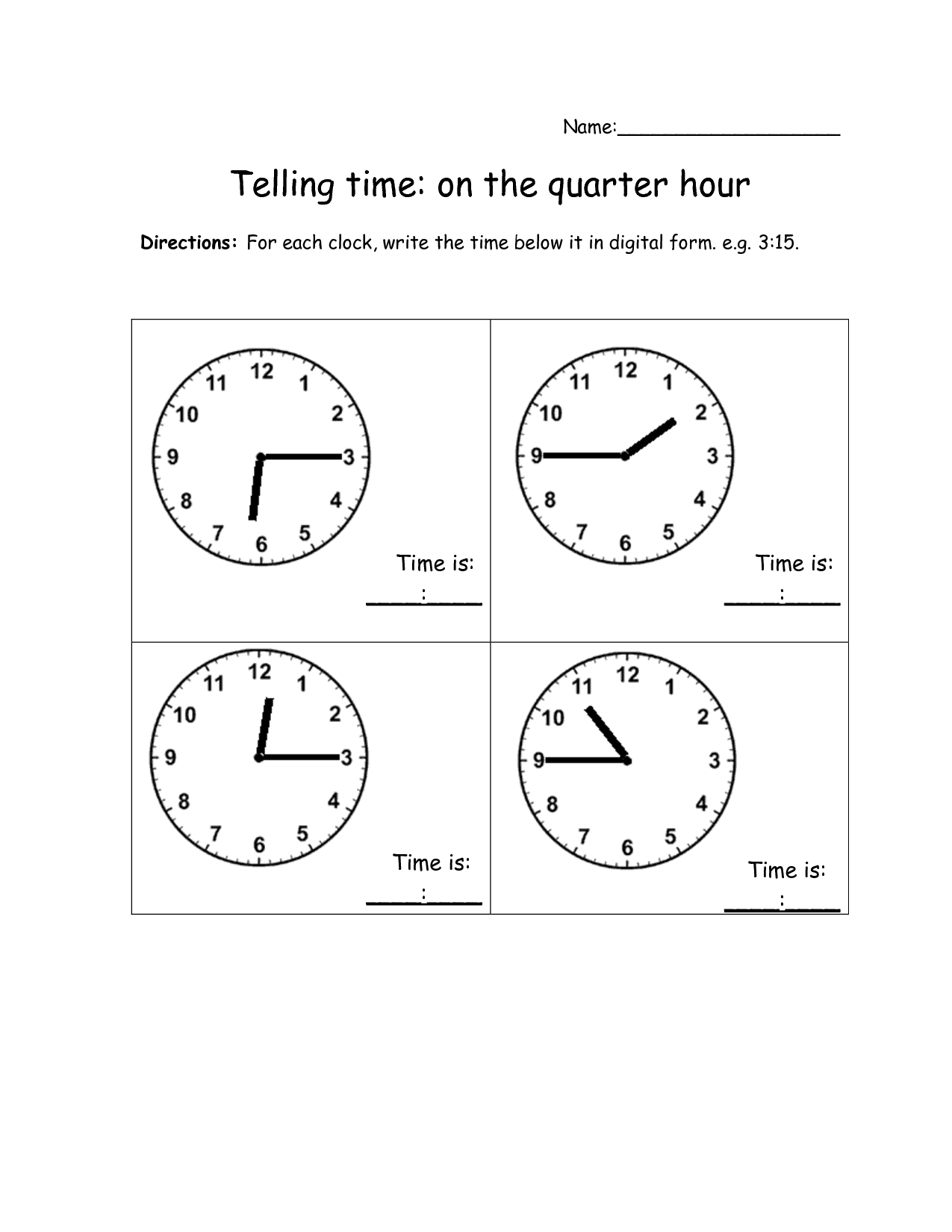 Time To The Quarter Hour Worksheets