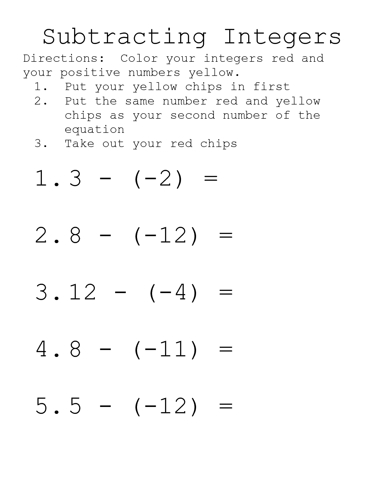 13 Best Images Of Adding And Subtracting Integers Worksheet
